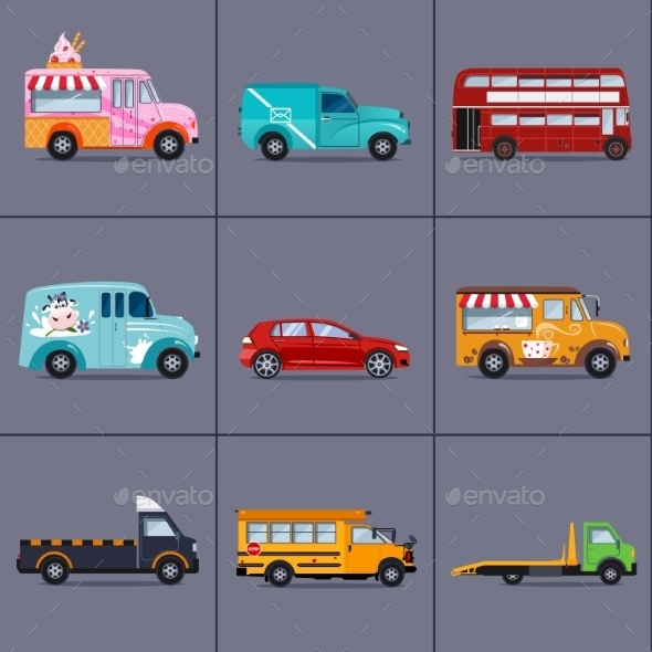 Vector Of Various Urban And City Cars, Vehicles