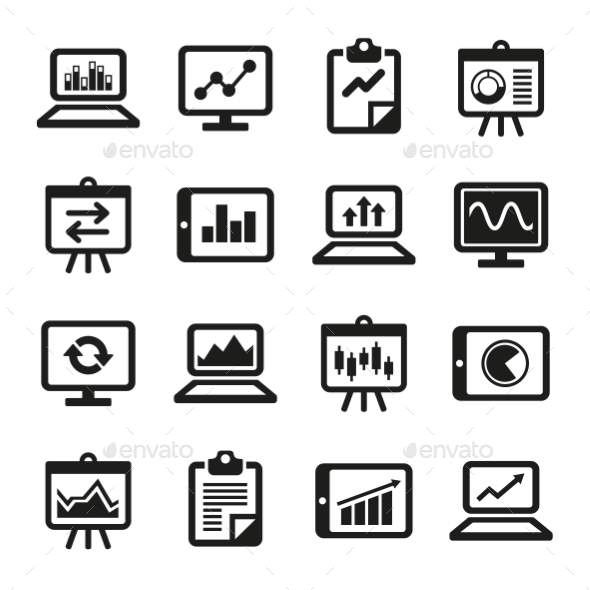 GraphicRiver Simple Diagram And Graphs Icons Set Vector 11843474