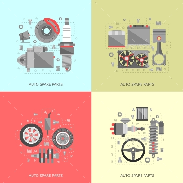 GraphicRiver Set Of Auto Spare Parts 11843587