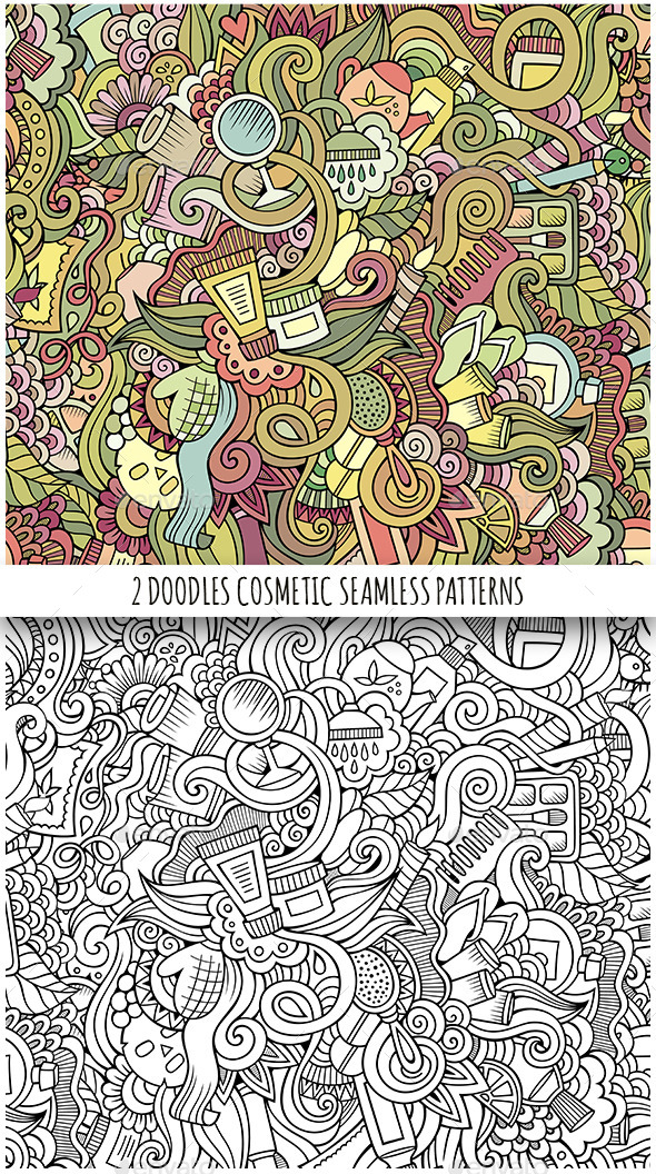 GraphicRiver Beauty and Cosmetics Doodles Seamless Patterns 11844142