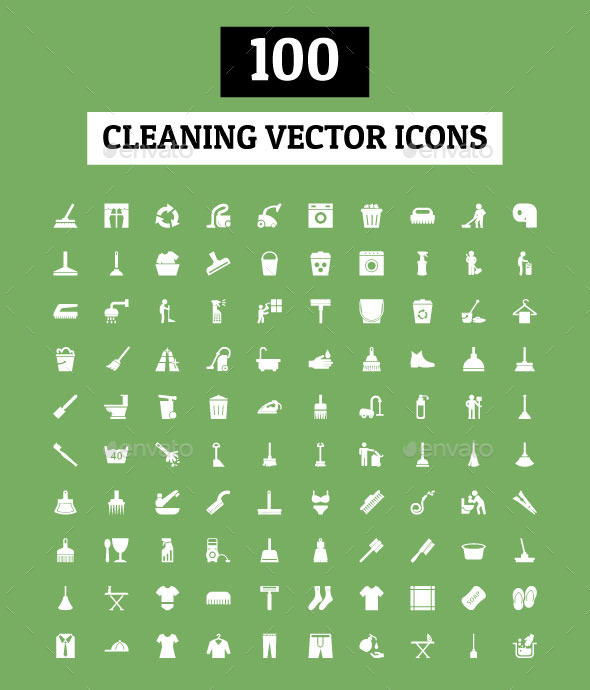 GraphicRiver 100 Cleaning Vector Icons 11844149
