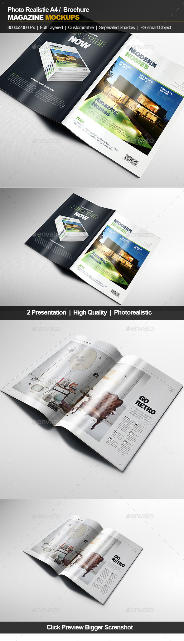 GraphicRiver A4 Brochure Magazine Mockup 11844422