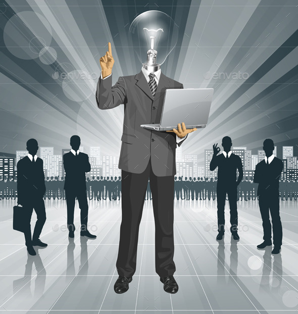 GraphicRiver Vector Lamp Head Business Man Shows Something 11844551