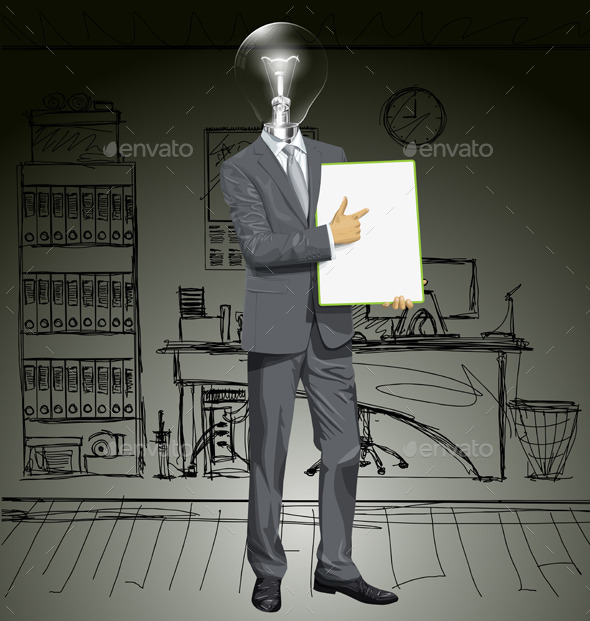 GraphicRiver Lamp Head Businessman with Empty Board 11844579