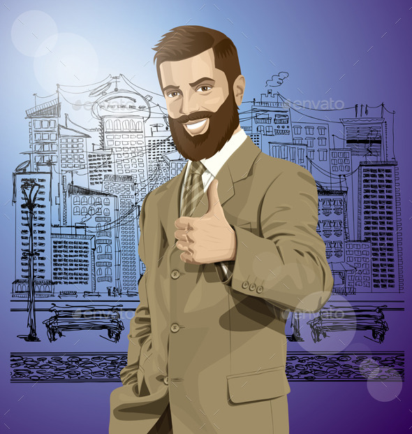 GraphicRiver Vector Business Man With Beard Shows Well Done 11844620