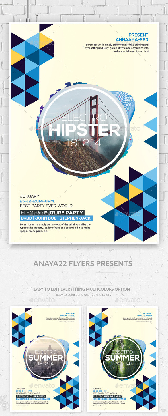 GraphicRiver Hipster Party Flyers Psd Template 11844628