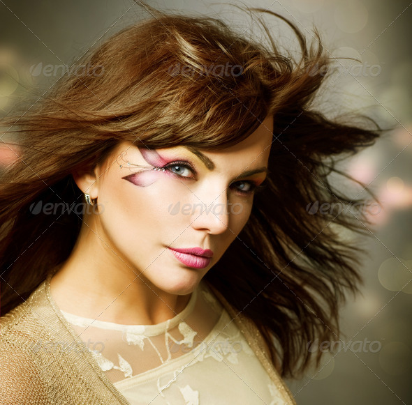 Beautiful Fashion Girl Portrait. Makeup - Stock Photo - Images