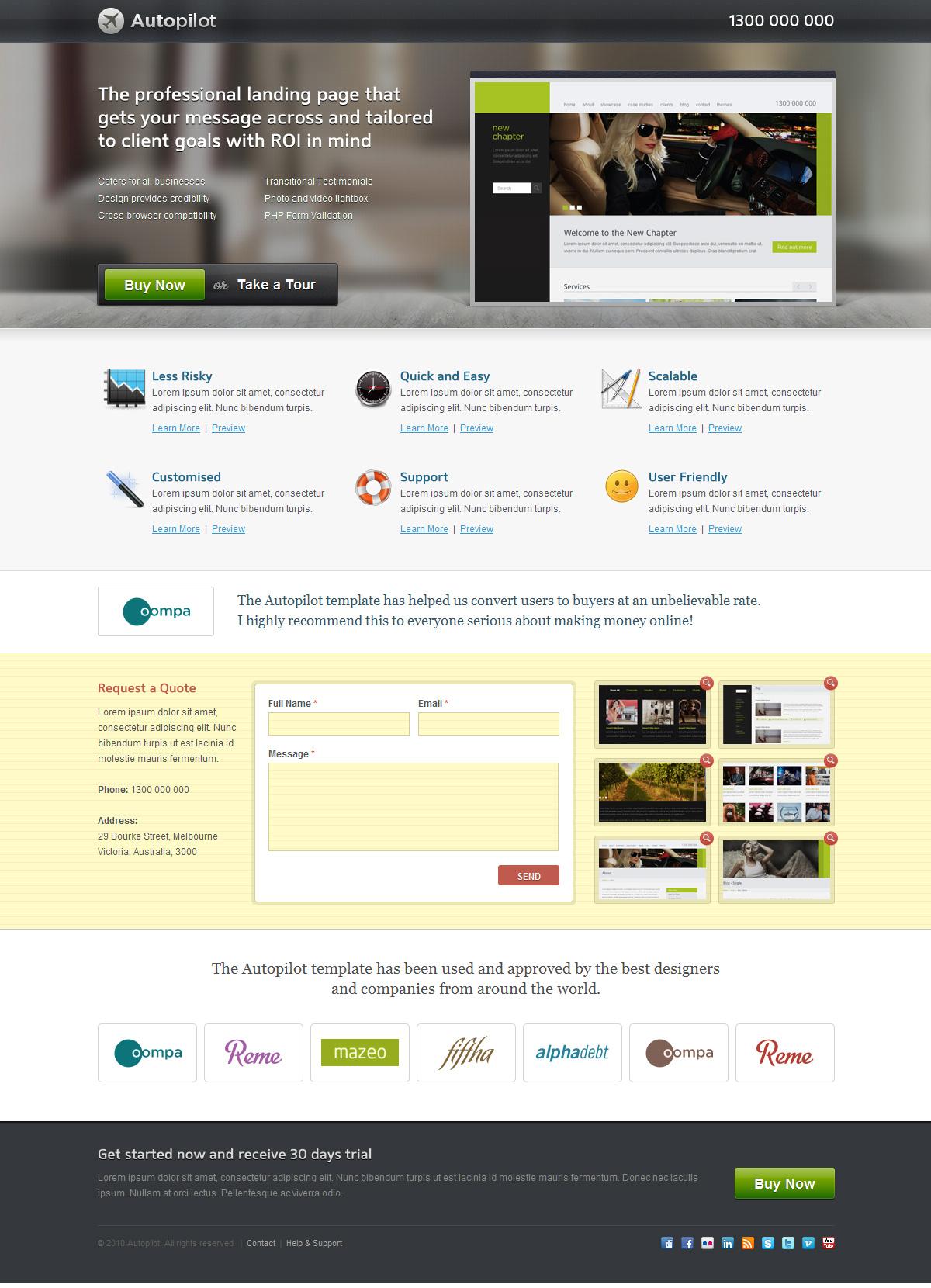 Autopilot Landing Page (3 Themes) - Screenshot 02 - Realistic
