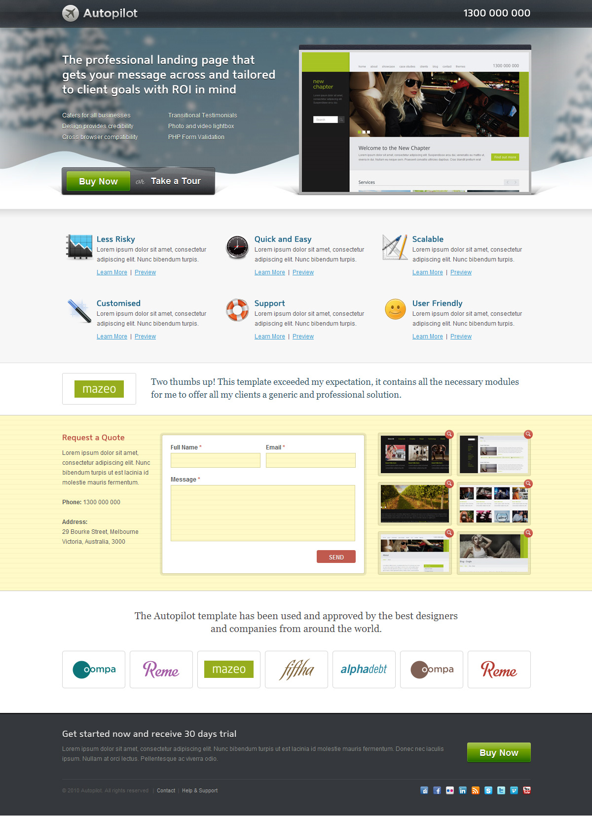 Autopilot Landing Page (3 Themes) - Screenshot 03 - Festive