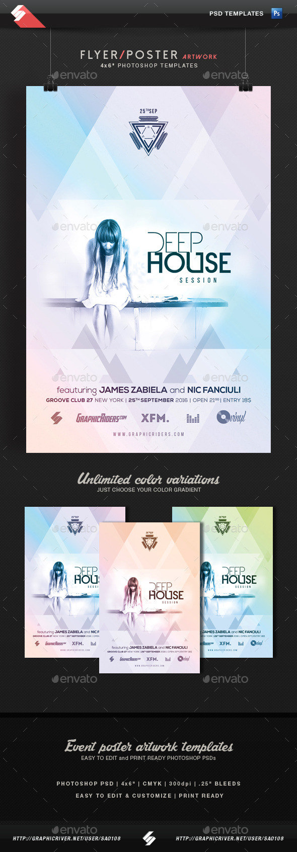 GraphicRiver Deep House Session Event Flyer Template 11846265