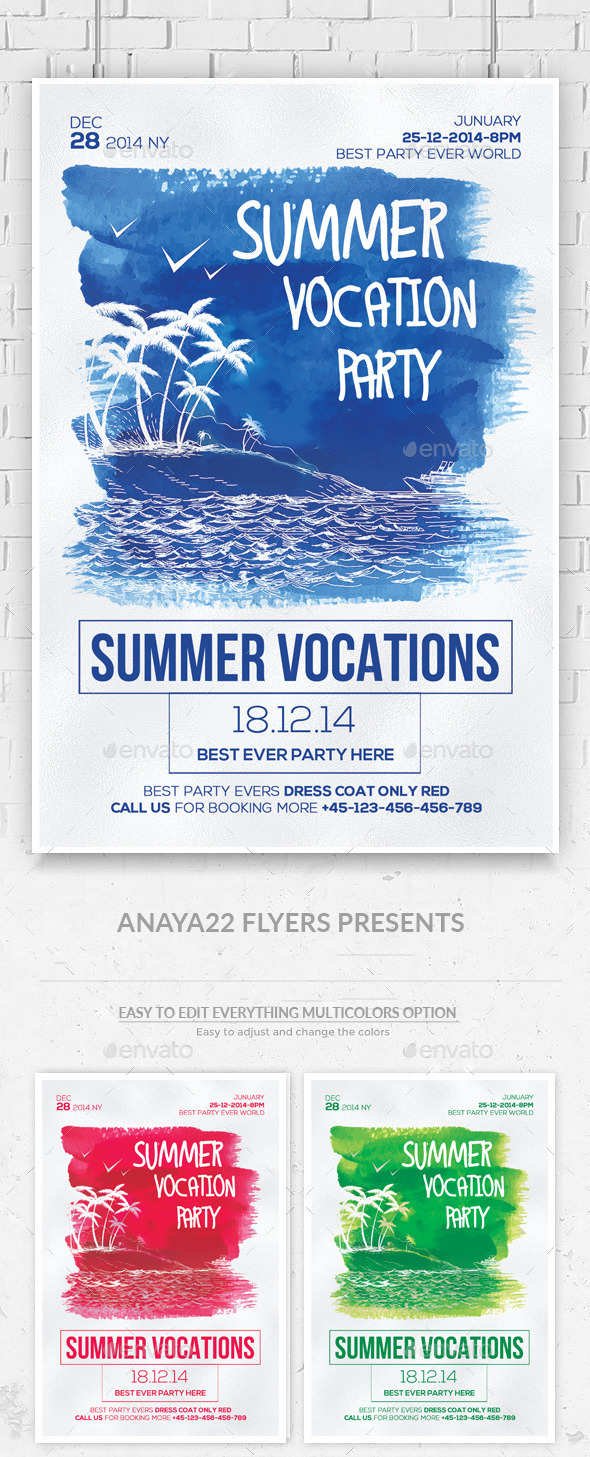 GraphicRiver Summer Party Flyer Psd Templates 11846273