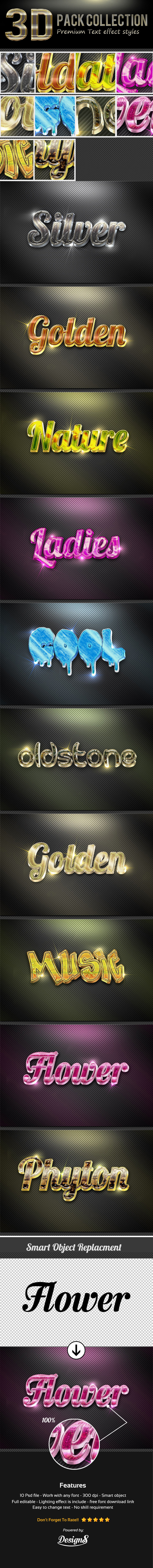GraphicRiver New 3D Photoshop Text Effect Style 11846618
