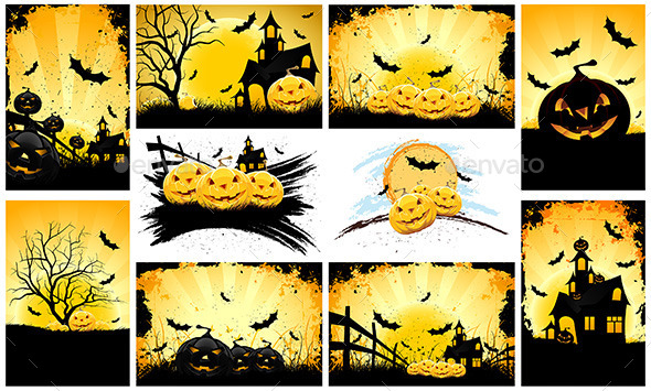 GraphicRiver Halloween Backgrounds Party Set 11846625