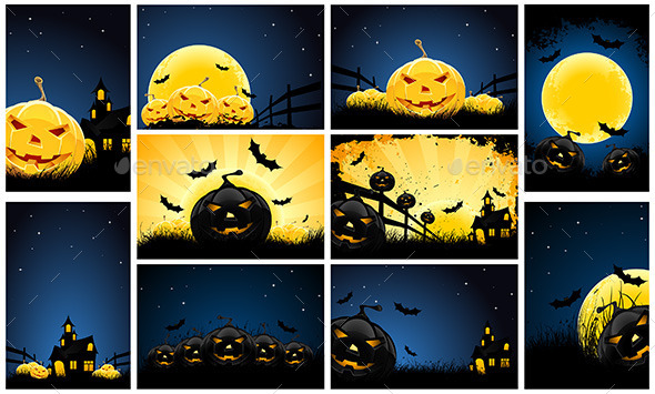 GraphicRiver Halloween Backgrounds Party Set 11846649