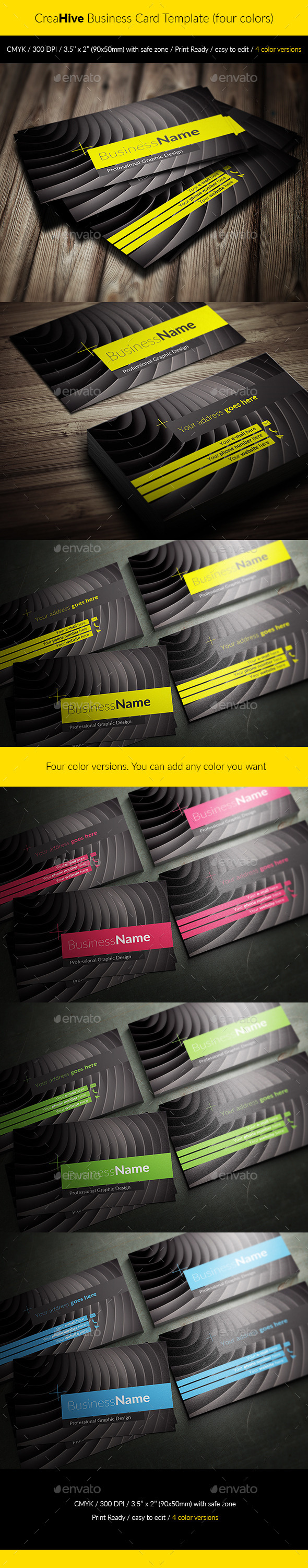 GraphicRiver CreaHive Business Card four colors 11847175