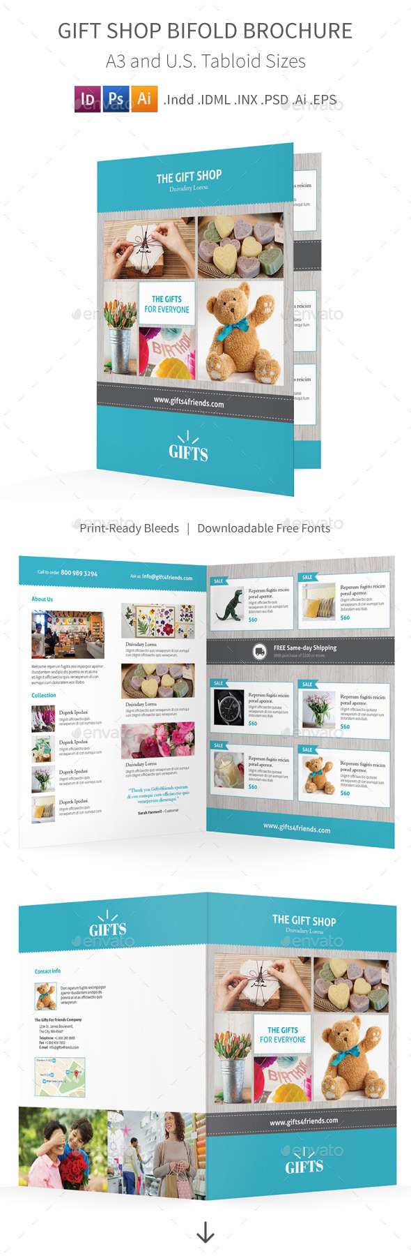 GraphicRiver Gift Shop Bifold Halffold Brochure 11847186