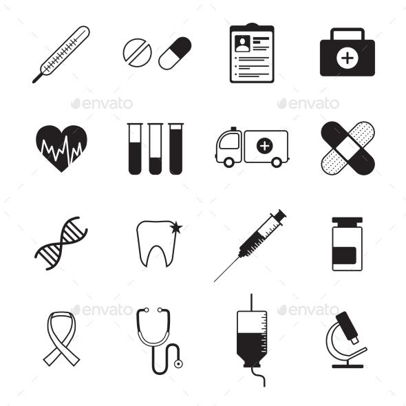 GraphicRiver Medicine Icons Set Black 11847300