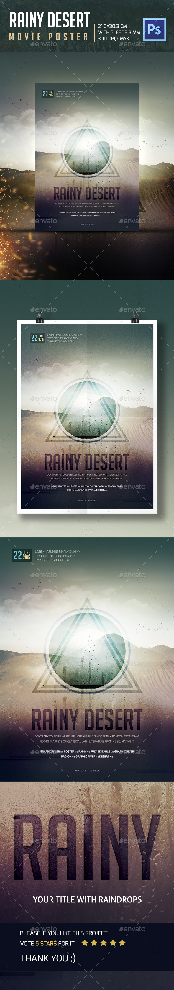 GraphicRiver Rainy Desert Movie Poster 11847381