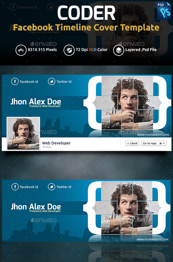 GraphicRiver Coder Facebook Cover 11847394
