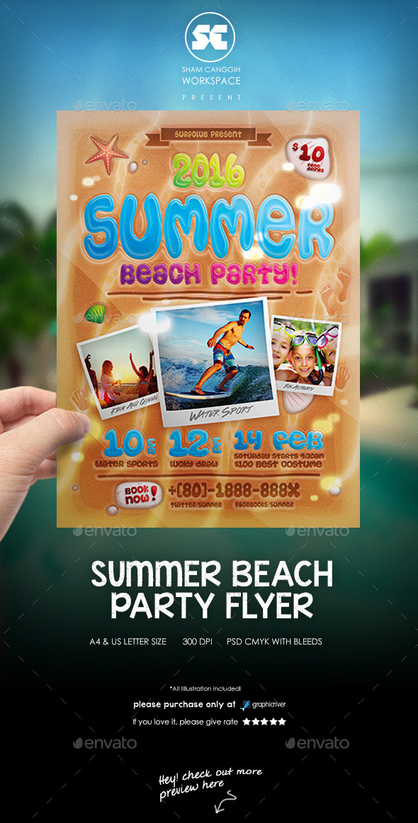 GraphicRiver Summer Beach Party FLyer 11847401