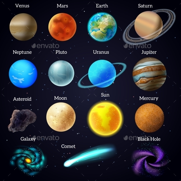 GraphicRiver Cosmos Stars Planets Galaxy Icons Set 11847469