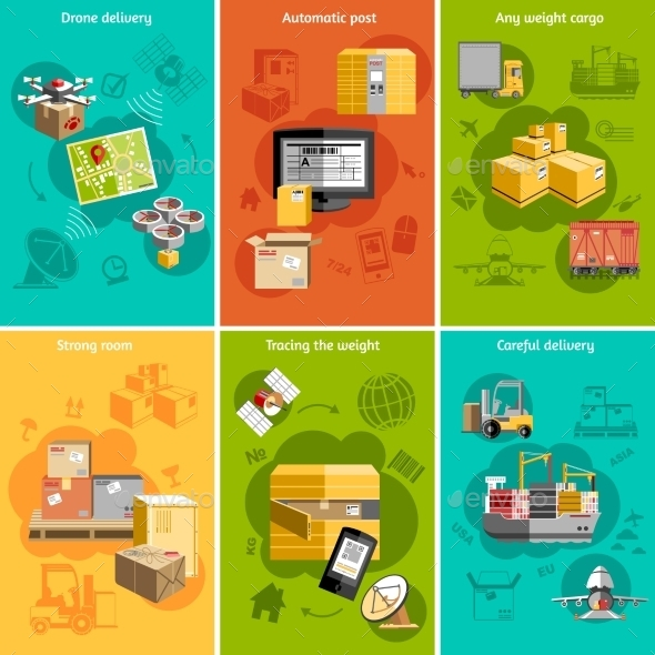 GraphicRiver New Logistics Flat Icons Composition Poster 11847498