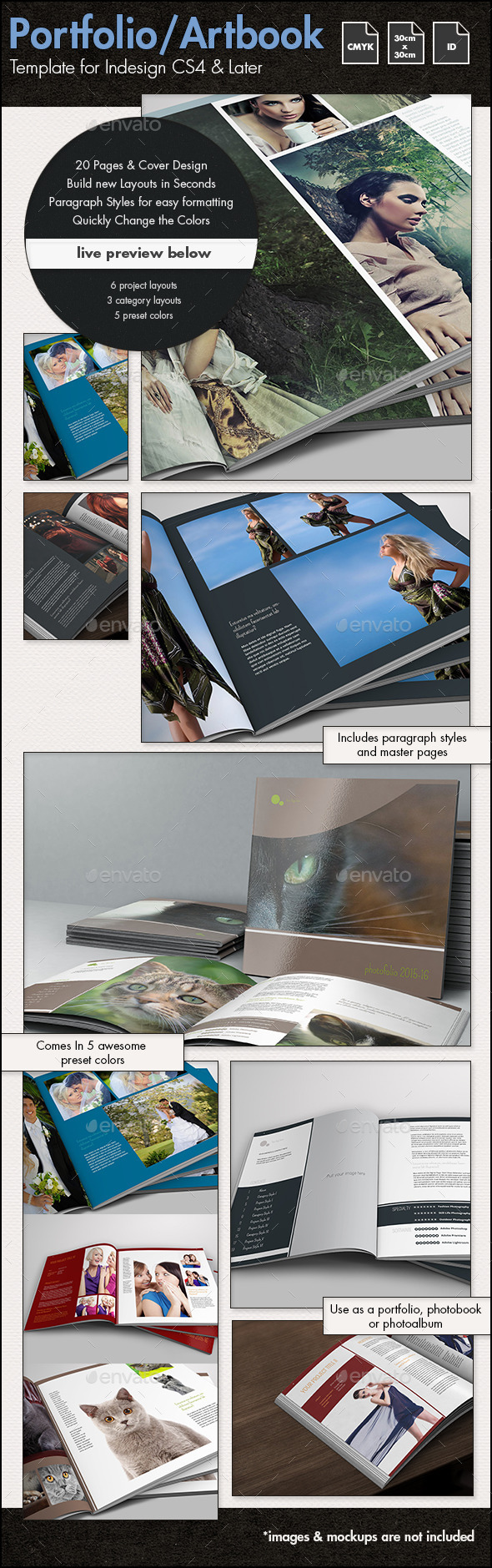 GraphicRiver Photobook Portfolio Artbook Template 30x30cm 11847515