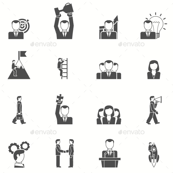 GraphicRiver Leadership Black White Icons Set 11847521