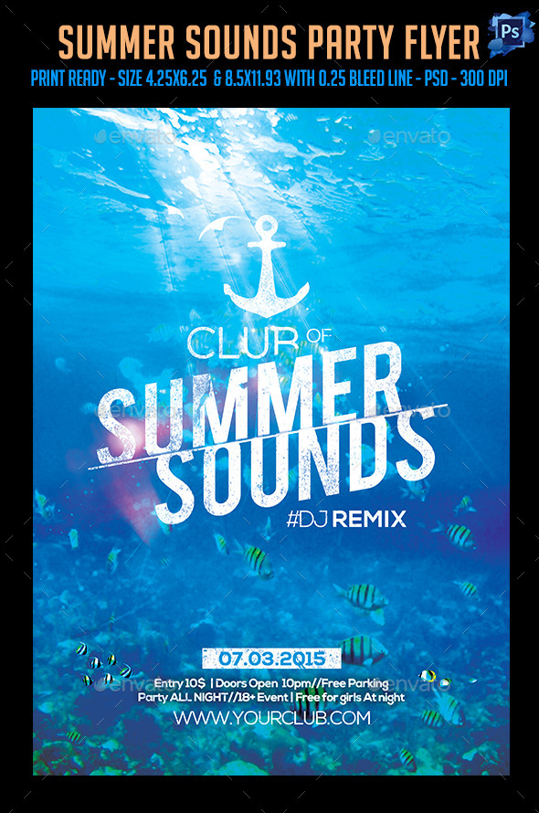 GraphicRiver Summer Sounds Party Flyer 11847551