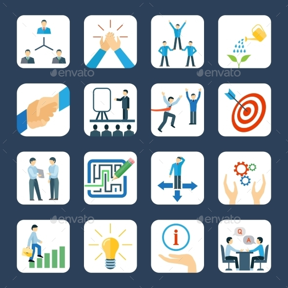 GraphicRiver Mentoring Flat Icons Set 11847571