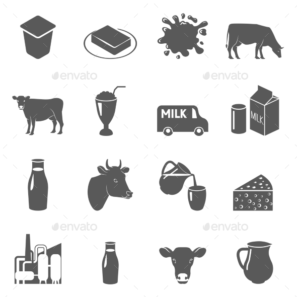 GraphicRiver Milk Black Icons Set 11847576