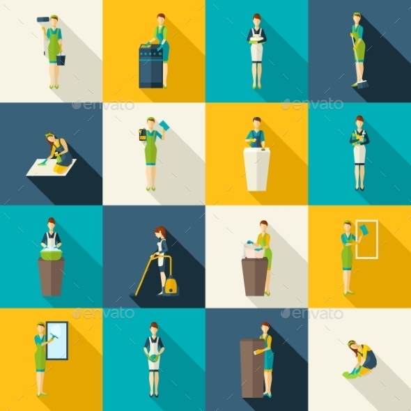 GraphicRiver Cleaners Color Flat Icons Set 11847588