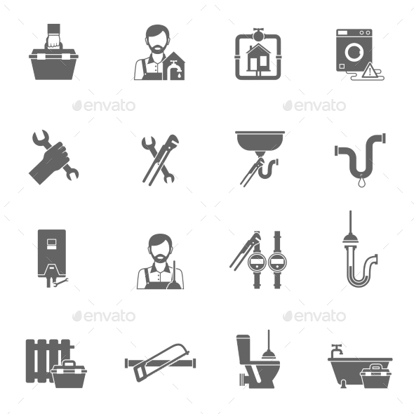 GraphicRiver Plumber Icons Black 11847590