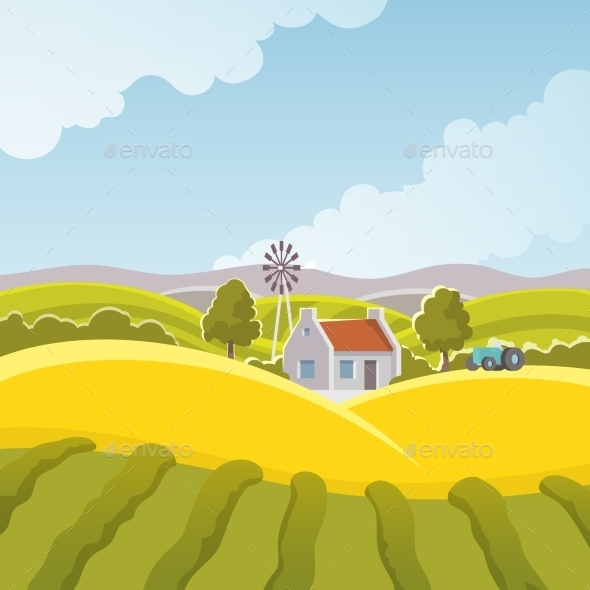 GraphicRiver Rural Landscape Illustration 11847603