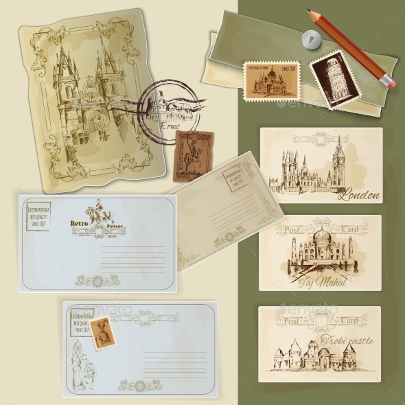 GraphicRiver Vintage Postcards Set 11847618