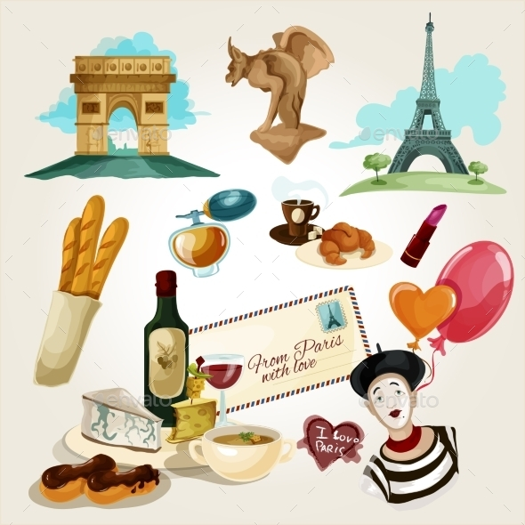 GraphicRiver Paris Touristic Set 11847630