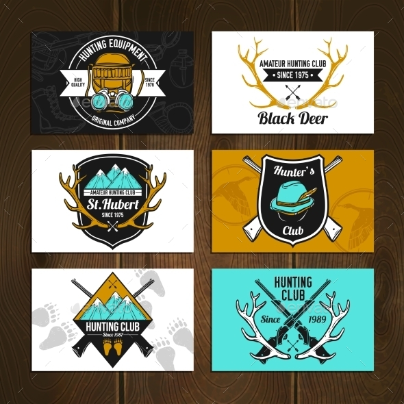 GraphicRiver Colorful Hunting Cards Set 11848032