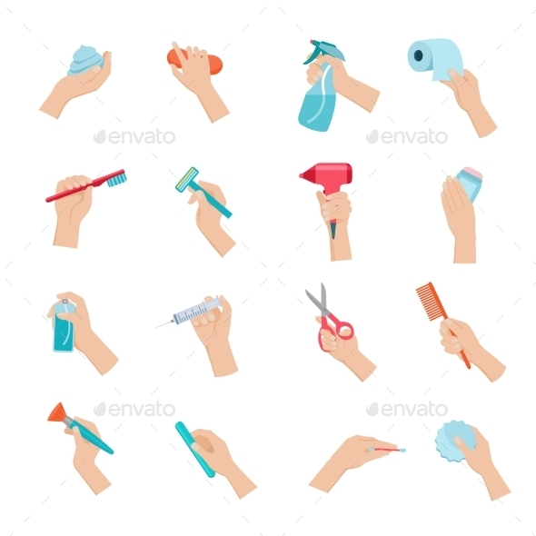 GraphicRiver Hand Holding Objects Icons Set 11848116