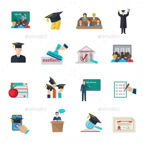 GraphicRiver Higher Education Icons Set 11848119