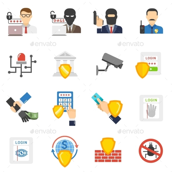 GraphicRiver Bank Security Flat Icons Set 11848126