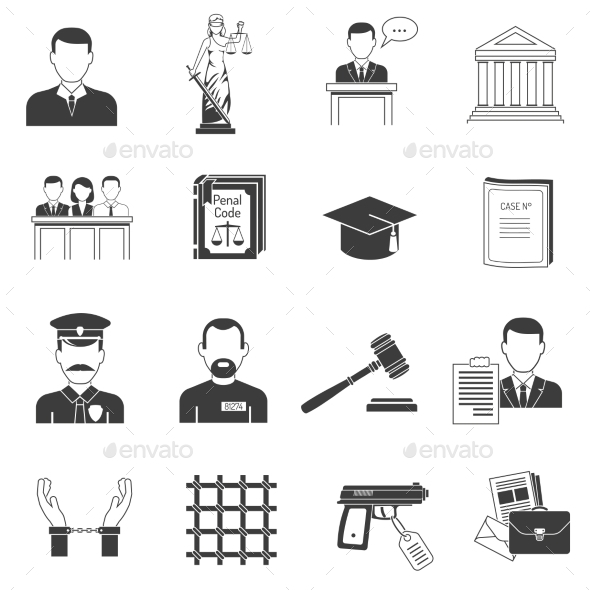 GraphicRiver Justice Black Icons Set 11848128