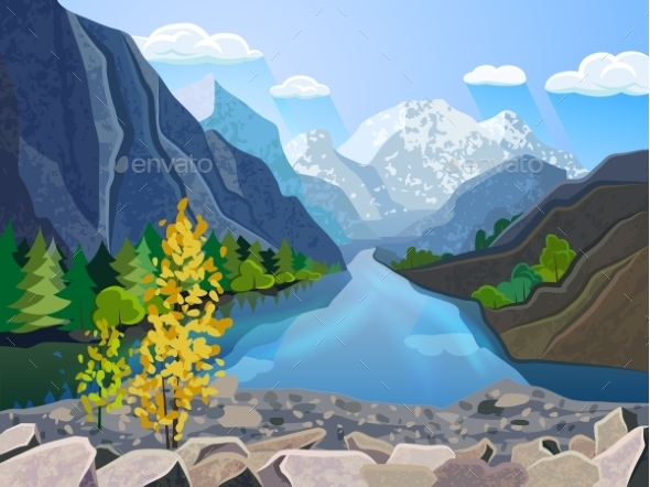 GraphicRiver Landscape Summer Mountain Range 11848134