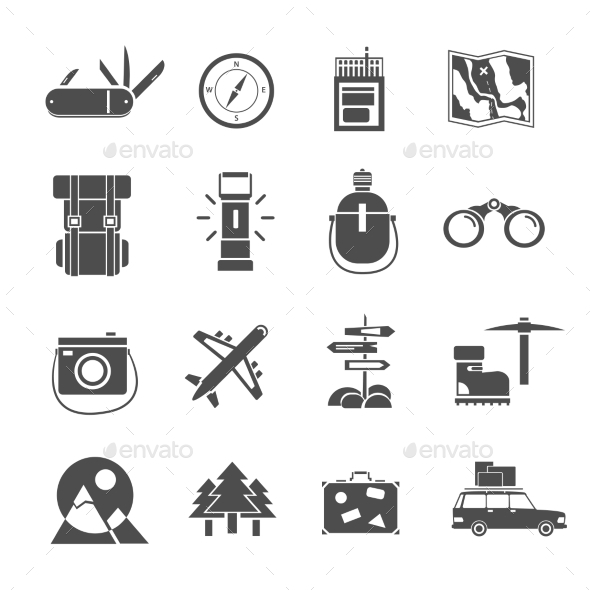 GraphicRiver Hiking Icons Set Black 11848198