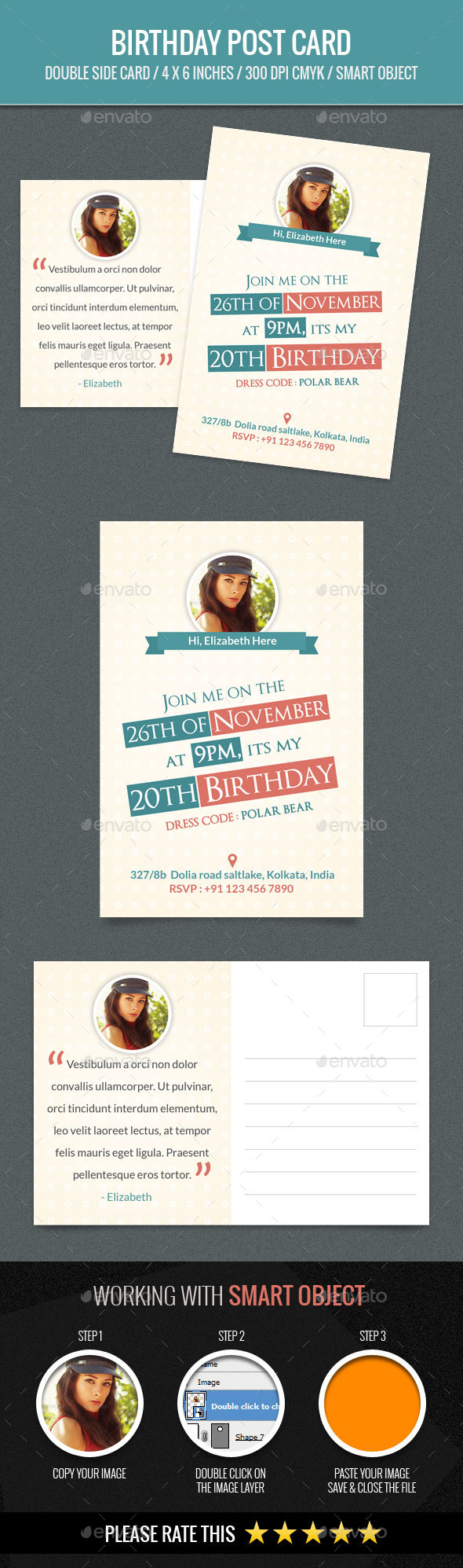 GraphicRiver Birthday PostCard Template 11848203
