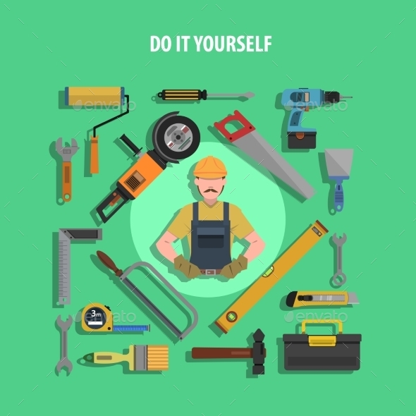 GraphicRiver Tools Concept Flat Illustration 11848210