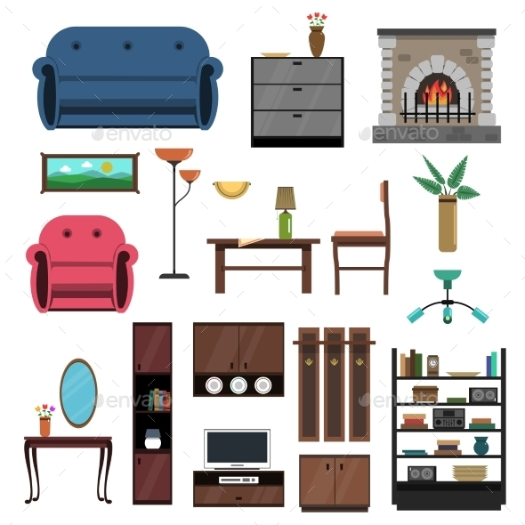 GraphicRiver Interior Icons Flat Set 11848211