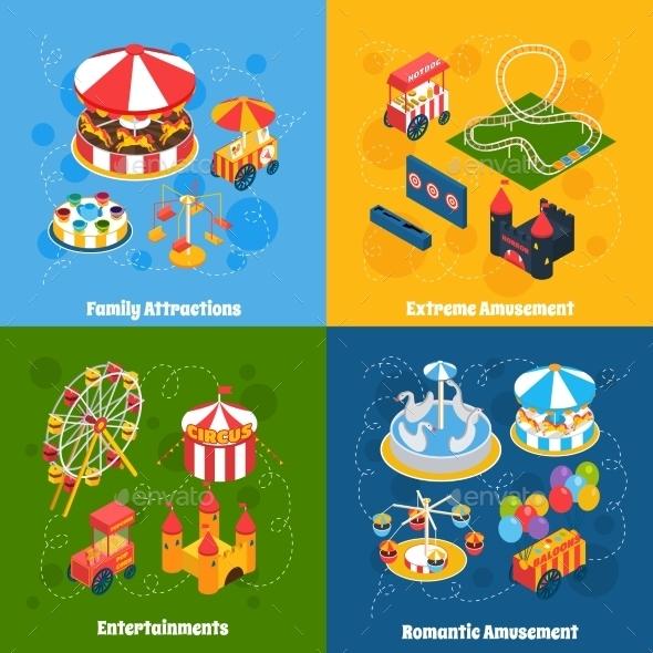 GraphicRiver Amusement Park Isometric 11848440