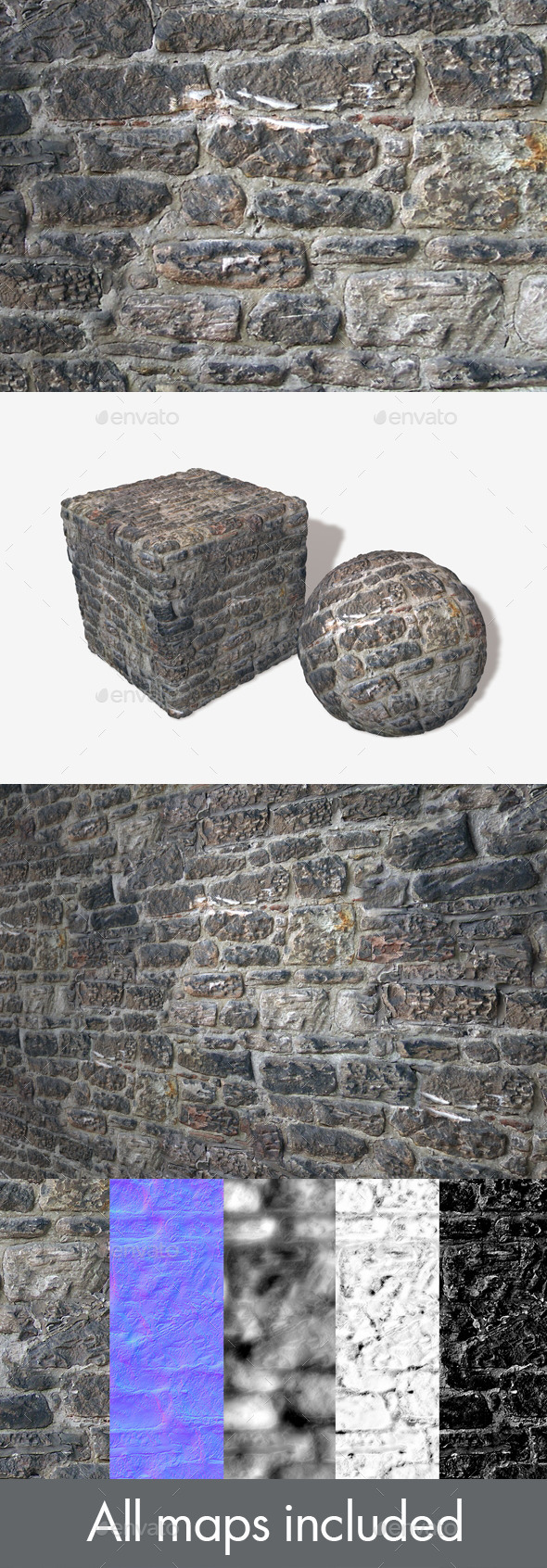 Re-plastered Rock Wall Seamless Texture - 3DOcean Item for Sale
