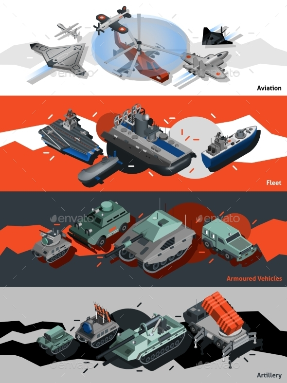 GraphicRiver Military Equipment Banners Isometric 11848534