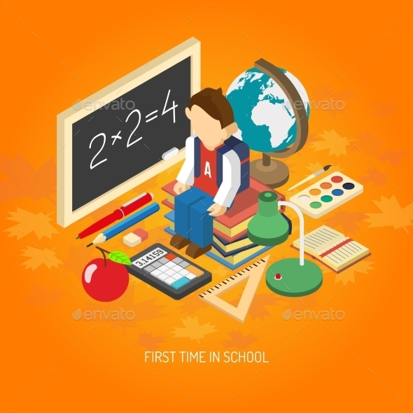 GraphicRiver School Isometric Concept Poster 11848541